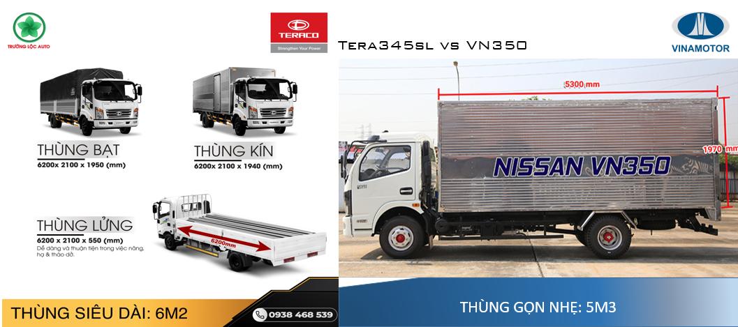 thùng xe tải 3,5 tấn tera345sl và vn350